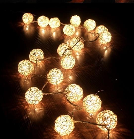 Multicolor 4M 20LED Handmade Rattan Balls String Fairy Lights Party night party decoration glow US.UK/ AU / EU plug