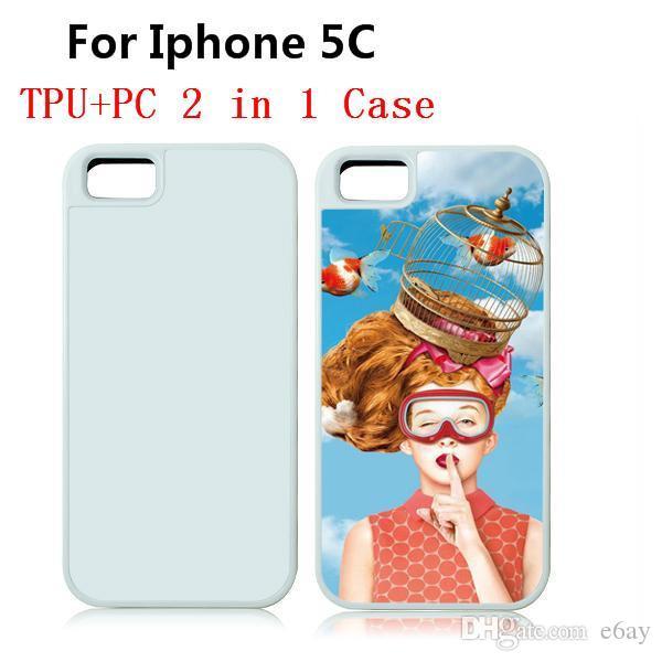 Para iphone 5c tpu + pc 2 em 1 case diy sublimação de calor imprensa telefone celular casos com placas de metal em branco de alumínio dhl frete grátis