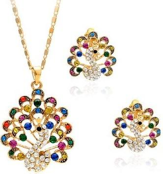 Colorufl бриллиант павлин л свадебный комплект невесты ожерелье (46 + 3 см) серьги (2,8 * 3,8 см) (myyhm