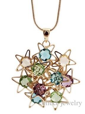 больше цветов Цветочный кулон ожерелье (5*4 см) Леди (68+3 см) (400-cn)