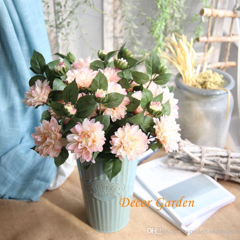 2 head 9Colors Charming and Elegant Dahlia Artificial Flower Bridal Bunny Wedding Decoration Bouquet Simulation Flower Ornam DY1-998