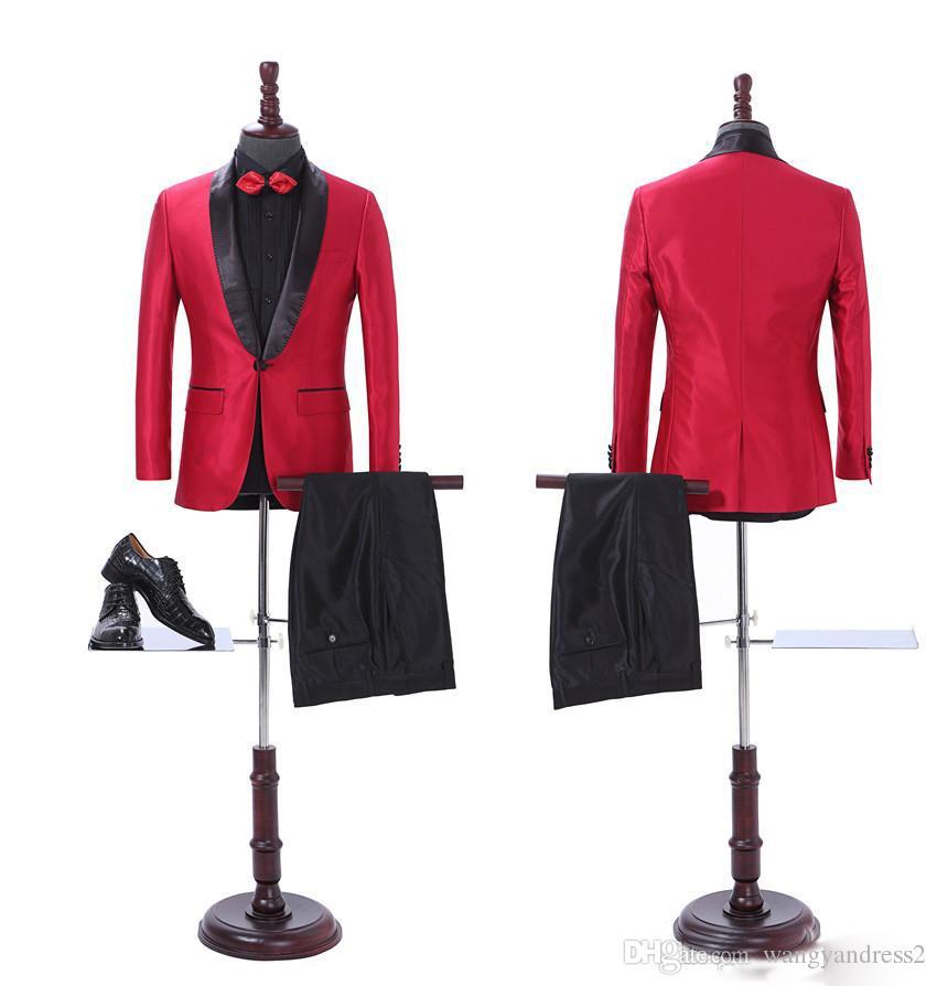 Nuevo diseño Trajes a medida Trajes de negocios rojos Trajes de boda Blazer guapo Trajes de padrino de boda con solapa (chaqueta + pantalones)