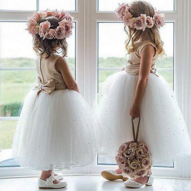 Cute White Beads Tulle flowers girls dresses 2015 With Bow Sash Girls Pageant Dresses Tea Length Ruched 2016 Girls Party dresses Custom Made