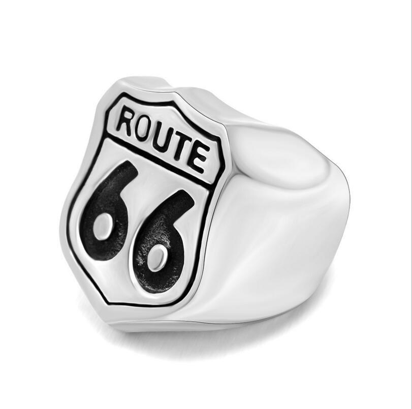Aço inoxidável masculino motociclista rota 66 anel EUA estrada jóias