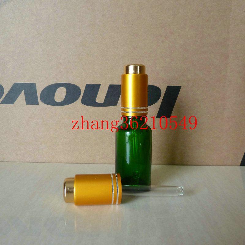 20ml 녹색 유리 에센셜 오일 병 알루미늄 프레스 매트 골드 dropper 캡으로. 오일 병, 에센셜 오일 용기