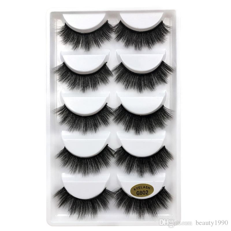5pairs/set 3D Mink False EyeLashes Thick Plastic Black Cotton Full Strip Fake Eye Lashes For Party Cosmetic Make Up Tool With Box G800