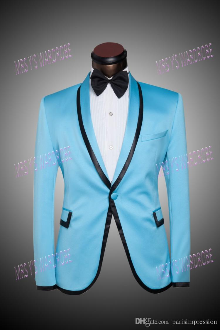 2018 Plus Size 2014 Men Suits Sky Blue Blazers Groom Tuxedos Wedding ...