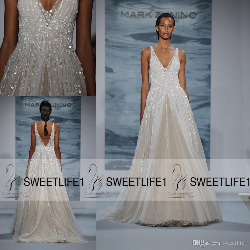 2020 Mark Zunino vestidos de noiva V profundo Neck Sequins Backless Sexy Pavimento Length uma linha de noiva Vestidos de Noiva Vestidos