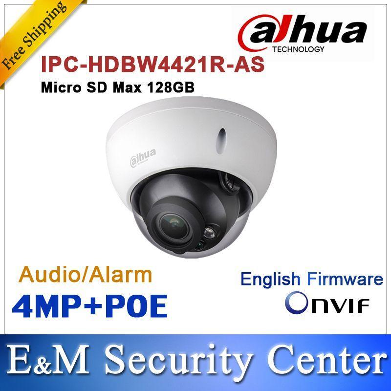 Originele DAHUA 4MP IPC-HDBW4421R-AS IP-netwerkcamera-ondersteuning POE MICRO SD-opslag Audio-alarm DH-IPC-HDBW4421R-AS