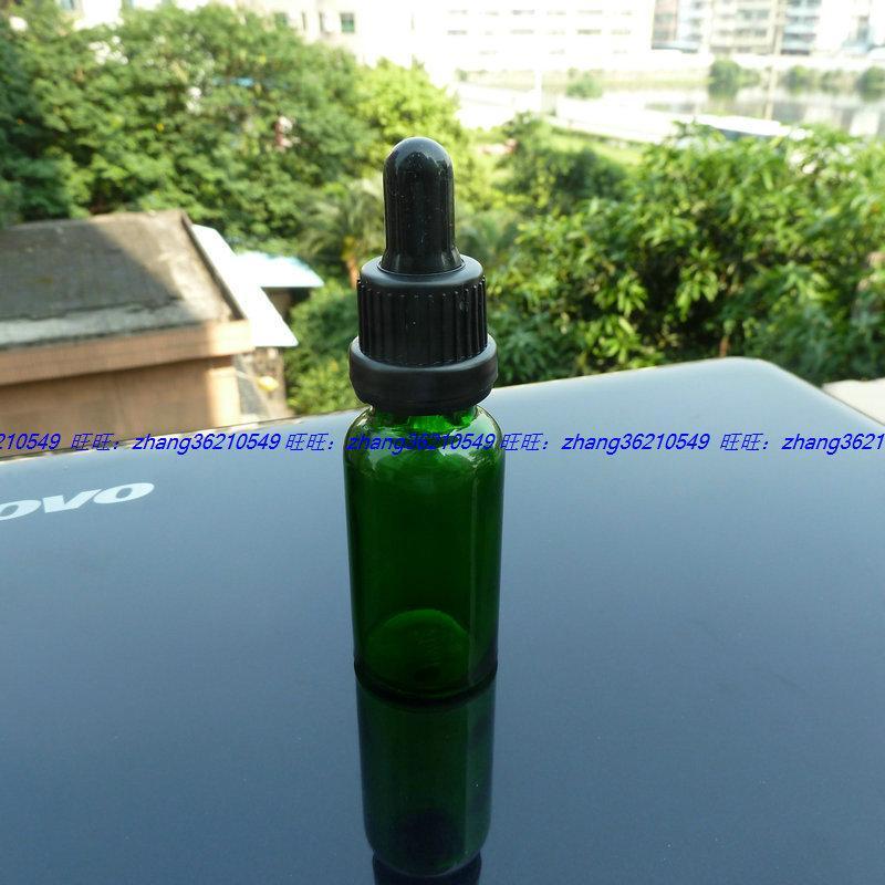 20ml 녹색 유리 에센셜 오일 병 검은 플라스틱 도둑 방지 뚜껑이 달려 있습니다. 오일 바이알, 에센셜 오일 용기