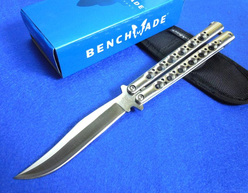 Benchmade Bm 43 Bm43 Balisong Knife 60hrc Butterfly Knife Bowie Plain Bm47 440c Steel Satin Edc Folding Blade Knife With Box Cheap Hunting Knives
