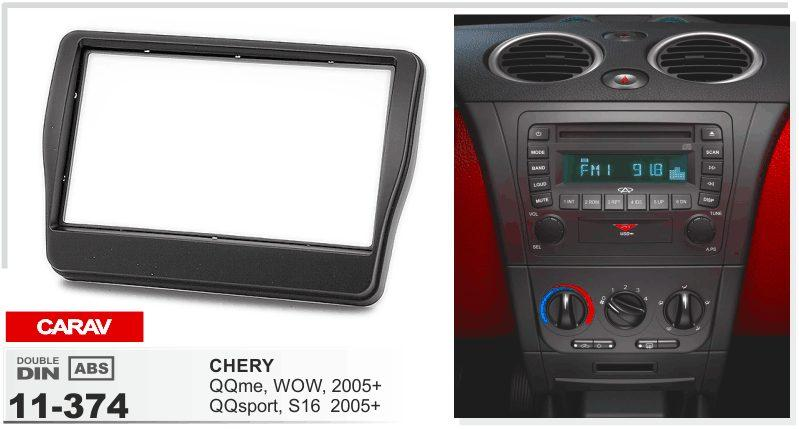 CARAV 11-374 car 2DIN fascia facia plate plate frame for CHERY QQme، WOW، QQsport، S16 2005+ Stereo Facia Dash CD Trim Install Kit
