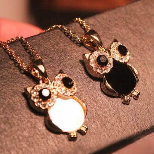 Gorący Koreański 2 Kolory Moda Proste Śliczne Powłoki Naturalnej Rhinestone Owl Naszyjnik Dla Kobiet Oświadczenie Biżuteria Hurtownie