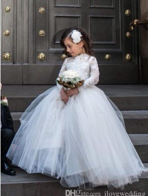 Принцесса 2015 маленькая цветочница свадебные платья с Sheer кружева с длинными рукавами высокая шея театрализованное платье белый Первое причастие платье