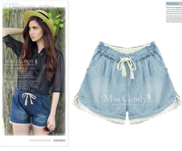 Pantaloncini ragazza all'ingrosso-estate stile strada alta metà denim jeans tasca in pizzo casuale allentato blu 5xl 4xl plus size abbigliamento donna J22