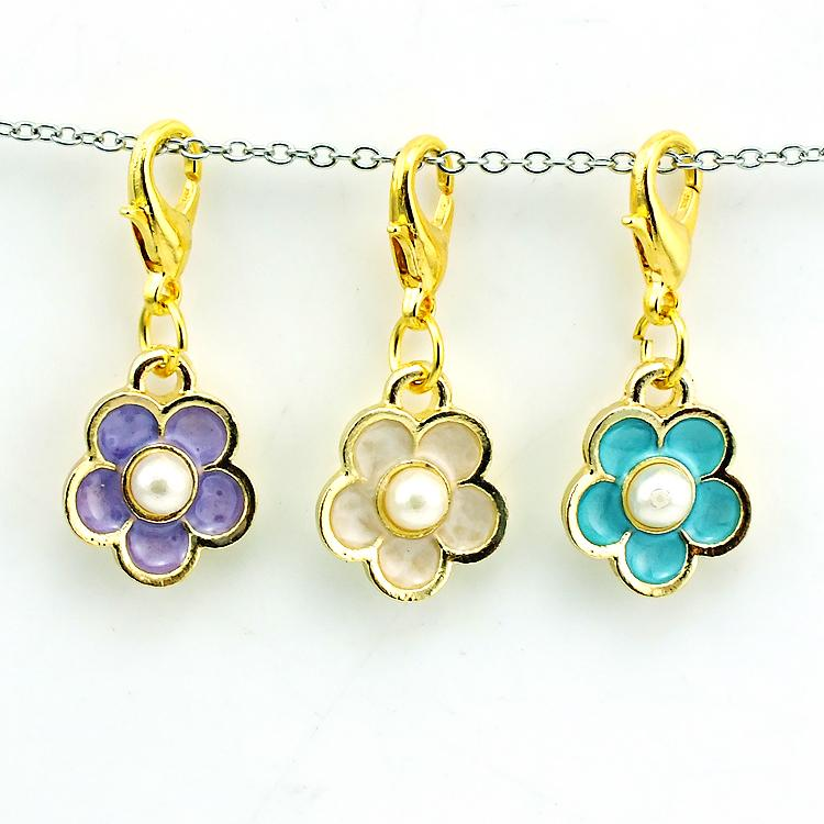 Brand New Fashion Floating Charms Alloy Lobster Clasp 3 Color Pearl Peatl Charms DIY Accessories Jewelry