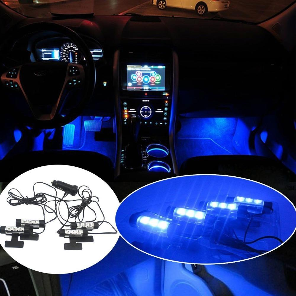 25 sets 100pieces car led interior decoration under dash floor led car led interior decoration under dash floor led light strip lamp blue hot mozeypictures Gallery