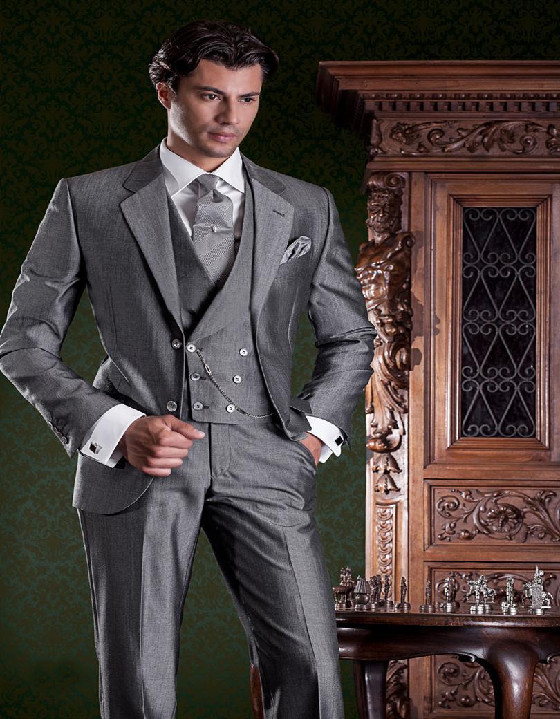 Wholesale - 그레이 공식적인 양복 Alpaca 모헤어 양모 일치하는 두 번 조끼 조끼 사용자 정의 만든 신랑 턱시도 Groomsman 양복