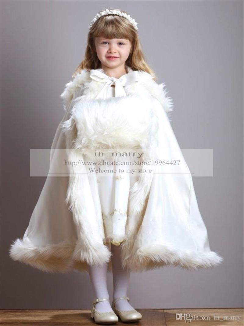 Großhandel Weiß Elfenbein Pelz Kapuzenjacke Kleider Winter Warm ...