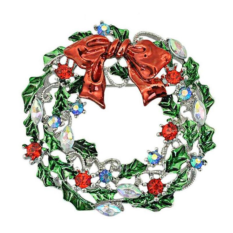 New Arrival Brooches Pins Fashion Red Crystal Rhinestone Leaf Bouquet Circle Alloy Christmas Wedding Gift Jewelry