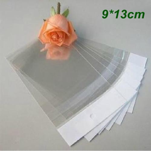 9 * 13 cm autoadesivo sacchetto di imballaggio di plastica trasparente Opp sacchetti di polietilene sacchetti di imballaggio regalo al dettaglio per ornamenti di gioielli perla con foro di sospensione