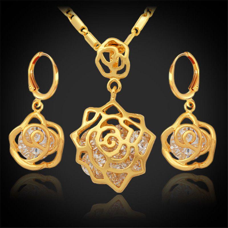 ارتفع خمر إنفينيتي أنيقة زركون أقراط قلادة مجموعة 18 كيلو الذهب الحقيقي مطلي مجموعات الأزياء والمجوهرات للنساء