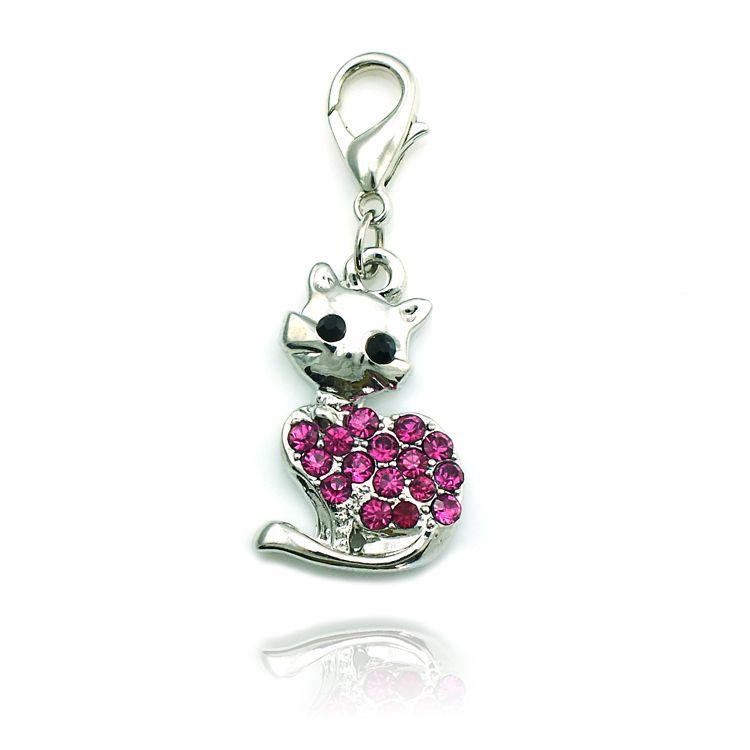 Mode Hummer Clasp Charms Silver Plated Pink Rhinestone Cat Animals Pendants DIY Charms För Smycken Tillbehör