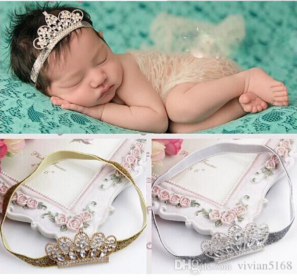 Lovely Princess Crystal Crown Headband Baby Girl Hair Accessories Tiara Infant Elastic Hair Bands Newborn Baby Headbands Crown hair band