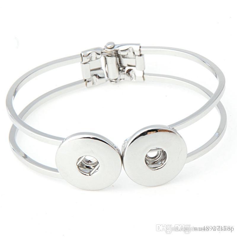 Мода двойной Оснастки кнопка подвески браслет-манжета браслет высокое качество DIY взаимозаменяемые защелки браслет для женщин серебро/золото Tone