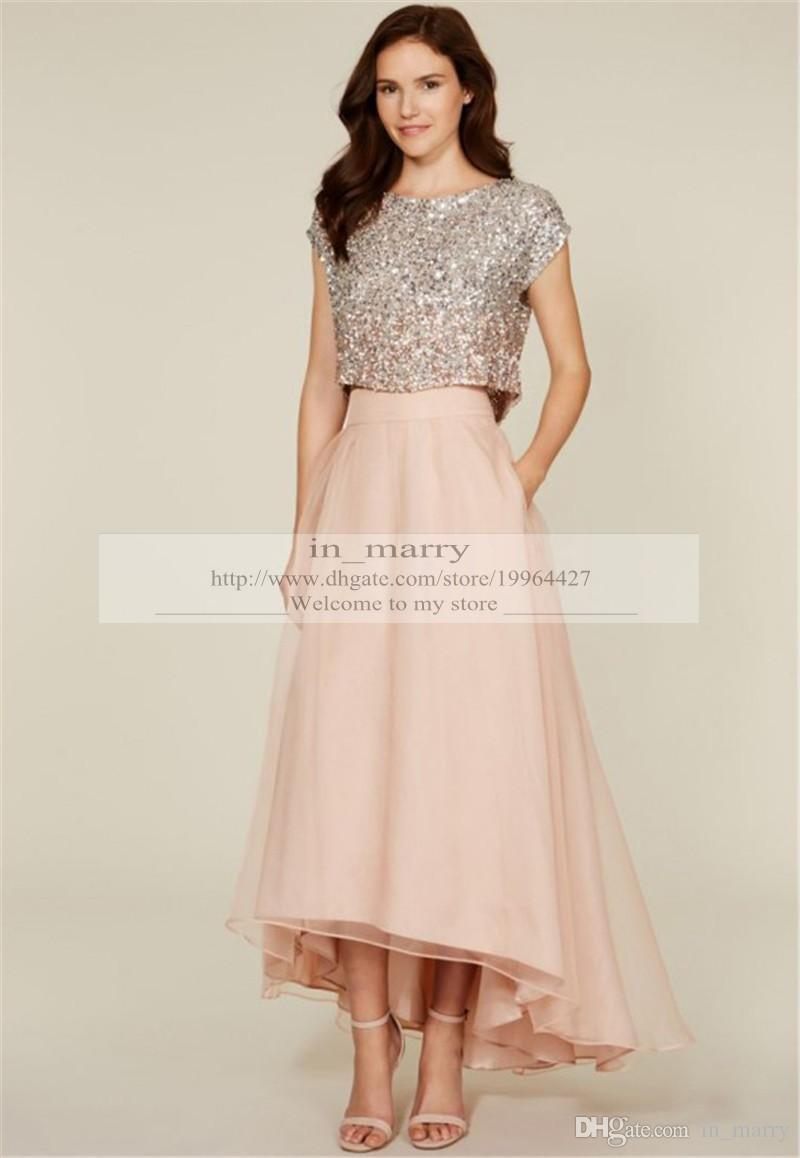 Two Pieces Unique Blush Bridesmaids Dresses For Cheap 2016 A Line