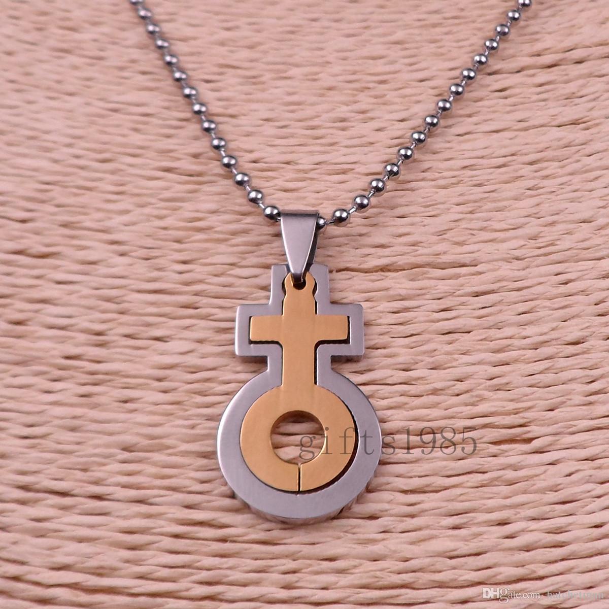 الفولاذ المقاوم للصدأ الإناث رمز سحر sillver الذهبية الفرز الثنائي قلادة قلادة 24IN