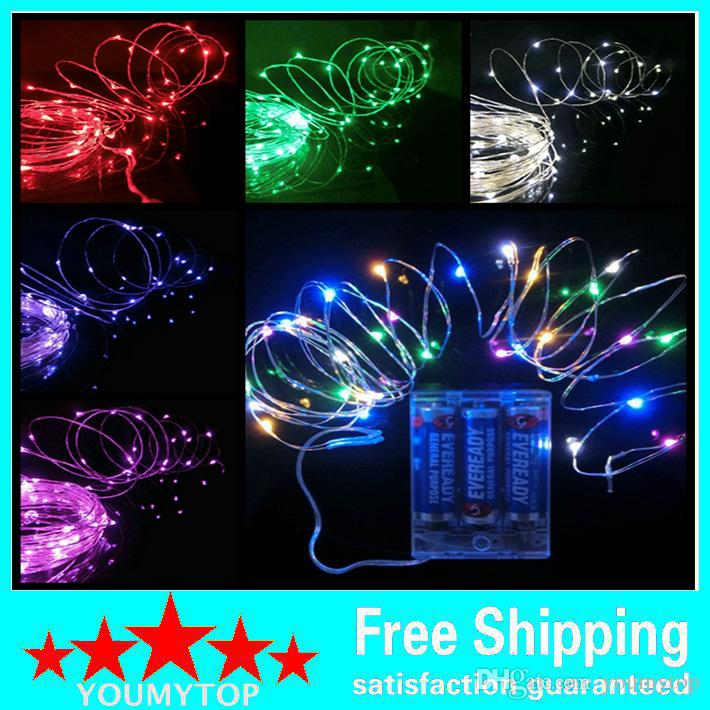 Battery Power Operated LED Copper Silver Wire Fairy Lights String 50Leds 5M Christmas Xmas Home Party Decoration Seed Lamp Outdoor