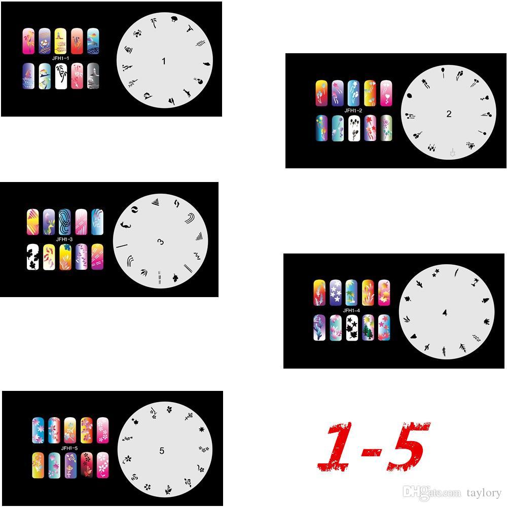 Новая мода аэрограф ногтей трафареты набор 1-10 инструменты Diy аэрография 10 x шаблон лист для аэрограф комплект ногтей краска