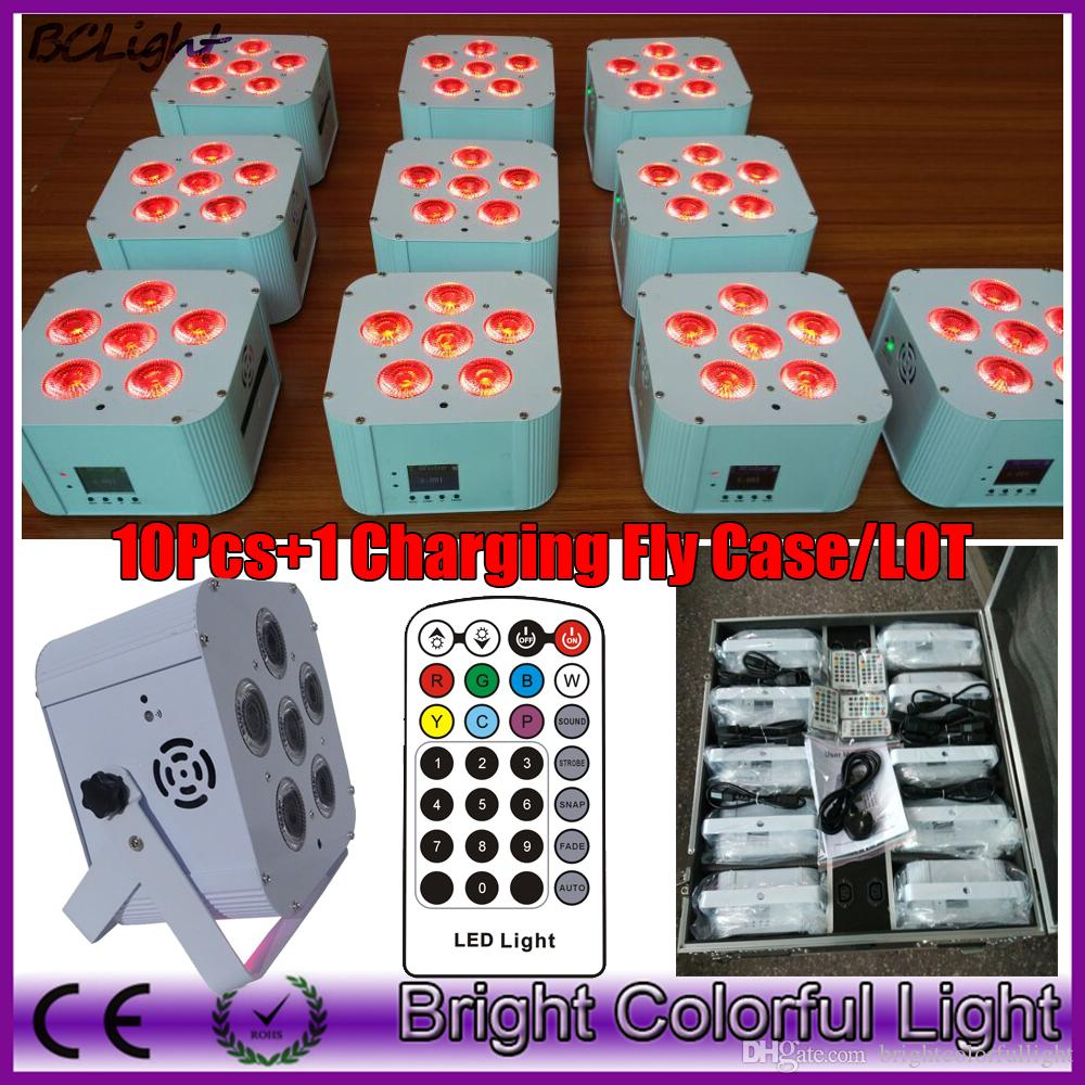 (10pcs +1 fly case /lot) Infrared remote & DMX wireless battery operated quad wedding par UV uplights/led flat par light