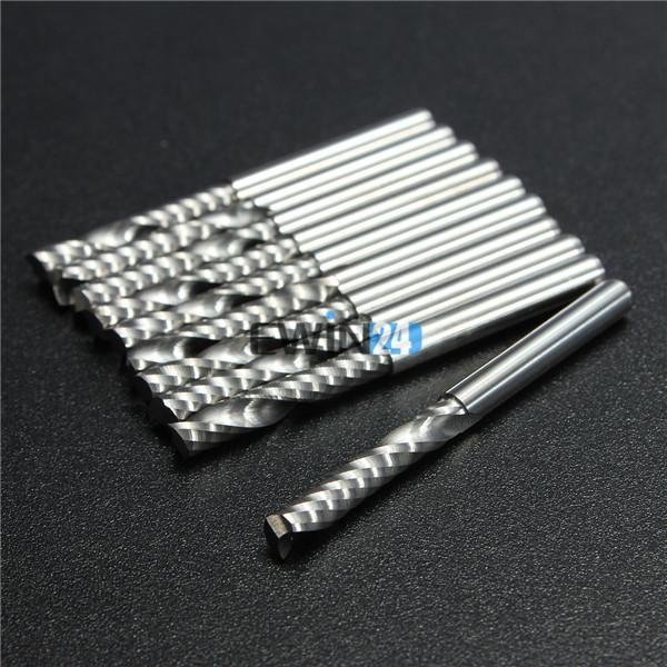 10 PÇS / SET 3.175mm 22mm Único Flauta Carboneto Espiral Carbide CNC Bits Fresa Fresa Novo