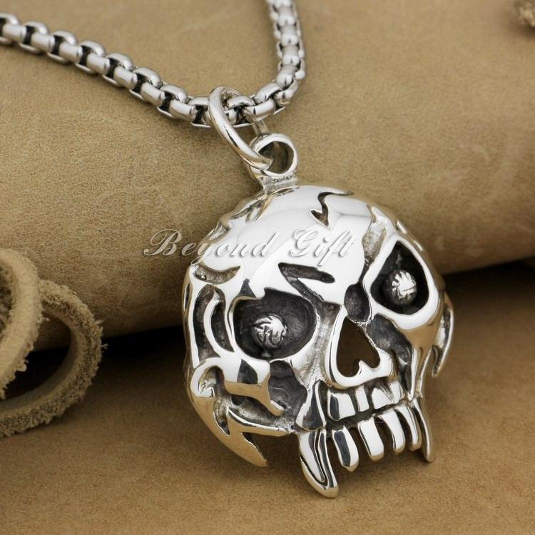 Огромный тяжелый череп мужские 92,5% стерлингового серебра байкер рокер панк кулон 9r009 (ожерелье 24 дюйма)