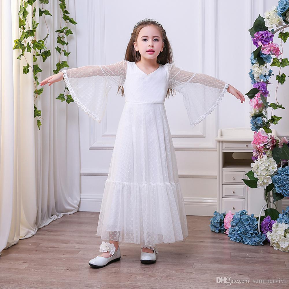 Children bridesmaid dress 2018 new girls lace embroidery princess children bridesmaid dress 2018 new girls lace embroidery princess long dress kids lace flare sleeve v ombrellifo Images