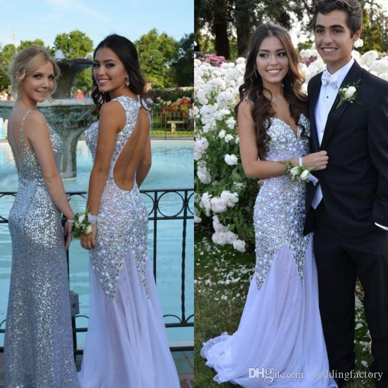 Luxury Colorful Crystals Prom Dresses Mermaid Sexy Backless White Evening Party Gowns Sweetheart Spaghetti Straps Sweep Train High Quality