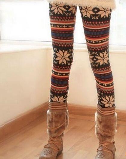 2014 Chica joven Retro tejer moda Casual ciervos salvajes copos de nieve Leggings Pant Warm Winter Snow Pants Legging envío gratis