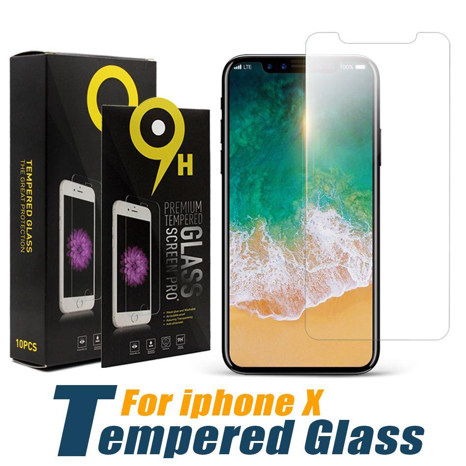 Displayschutzfolie für das iPhone 11 Pro Max XS Max XR ausgeglichenes Glas für iPhone 7 8 Plus LG stylo 5 Moto E6-Schutz-Film 0,33 mm mit Papierkasten