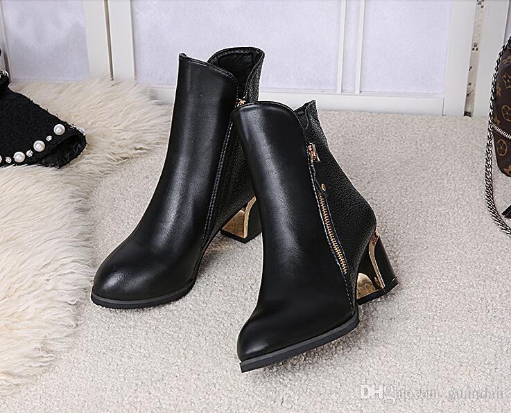 Großhandel Lederstiefel Frauen Herbst Schuhe 2017 Neue Reißverschluss Bling Keile Damen Stiefeletten Arbeitssicherheit Solide Rot Schwarz Stiefel