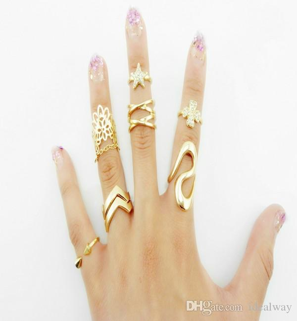 أزياء كوريا نمط الذهب مطلي برشام ستار حجر الراين البرسيم الرباط خاتم كريستال المفاصل الذيل مجموعة مجوهرات