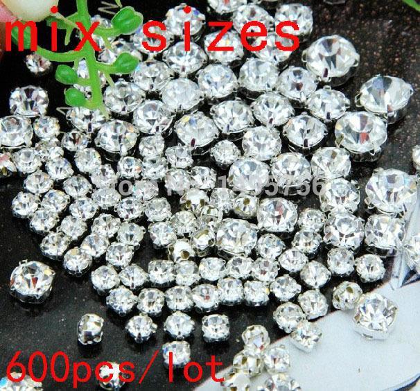 бесплатная доставка Mix размер кристально чистый цвет круглый шить на стразами с Коготь бусины 888 Diamante с настройками