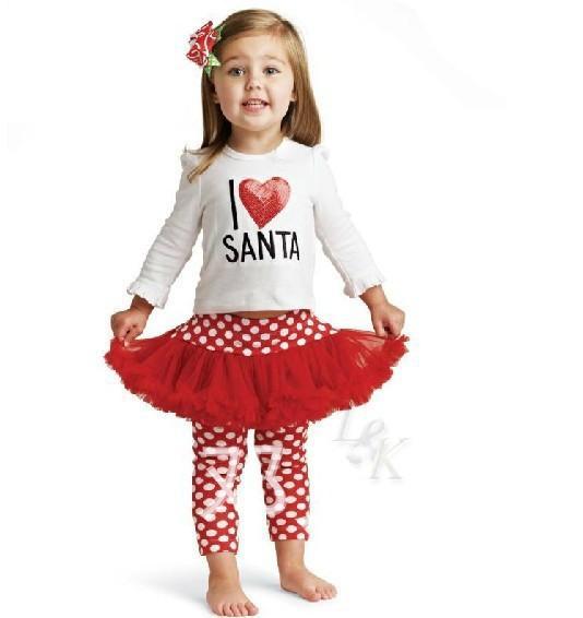 Девушки Я люблю Санта 2 шт. набор костюмы дети Рождество пачка платье дети Рождество с длинным рукавом хлопок футболка Девушка точки леггинсы J101302#