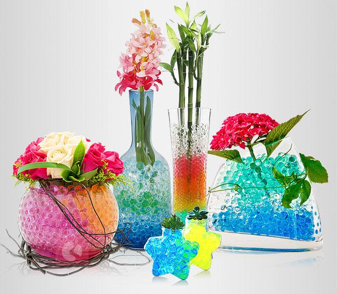 (2-2.5mm)Decorative Vase Filler Magic Water Growing Plants Flower Gel Balls Polymer Absorbant Water Crystal Mud Soil Pearl Jelly Bag Beads