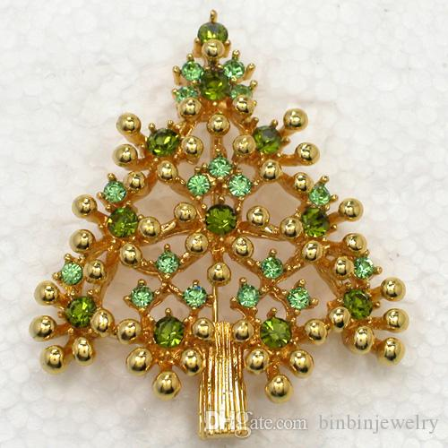 Großhandel C2018 Peridot Kristall Strass Vergoldet Weihnachtsbaum Pin Brosche Weihnachtsgeschenk Broschen Schmuck