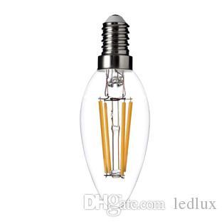 جديد خيوط led لمبة e14 e12 2 واط 4 واط عكس الضوء الثريا الصمام شمعة مصباح دافئ / بارد الأبيض ضوء ac110v-240v شمعة ضوء لمبات