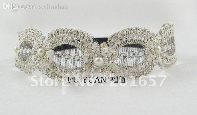Wholesale-Wholesale and Retail chic retro elegant Lace with gems Elastic headband handmade hairband colors assorted 12pcs/lot