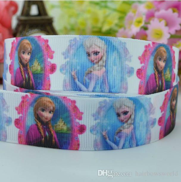 """UU. Cinta del grosgrain 3/"""" Frozen Elsa y Anna calor Impreso vendedor de EE"""