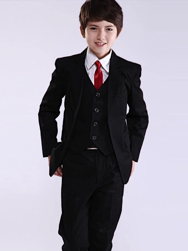 мода черный мальчик костюмы две кнопки мальчик смокинги зубчатый лацкан дети костюм дети свадьба/выпускного вечера костюмы из трех частей костюм (куртка+жилет+брюки+галстук)